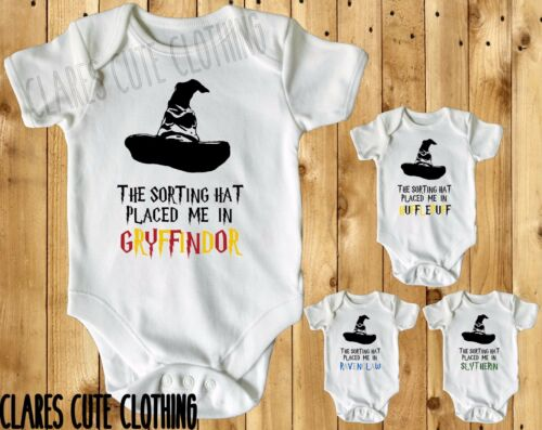 HARRY POTTER SORTING HAT gryfindor BABY VEST// GROW WHITE AVAILABLE IN MOST SIZE