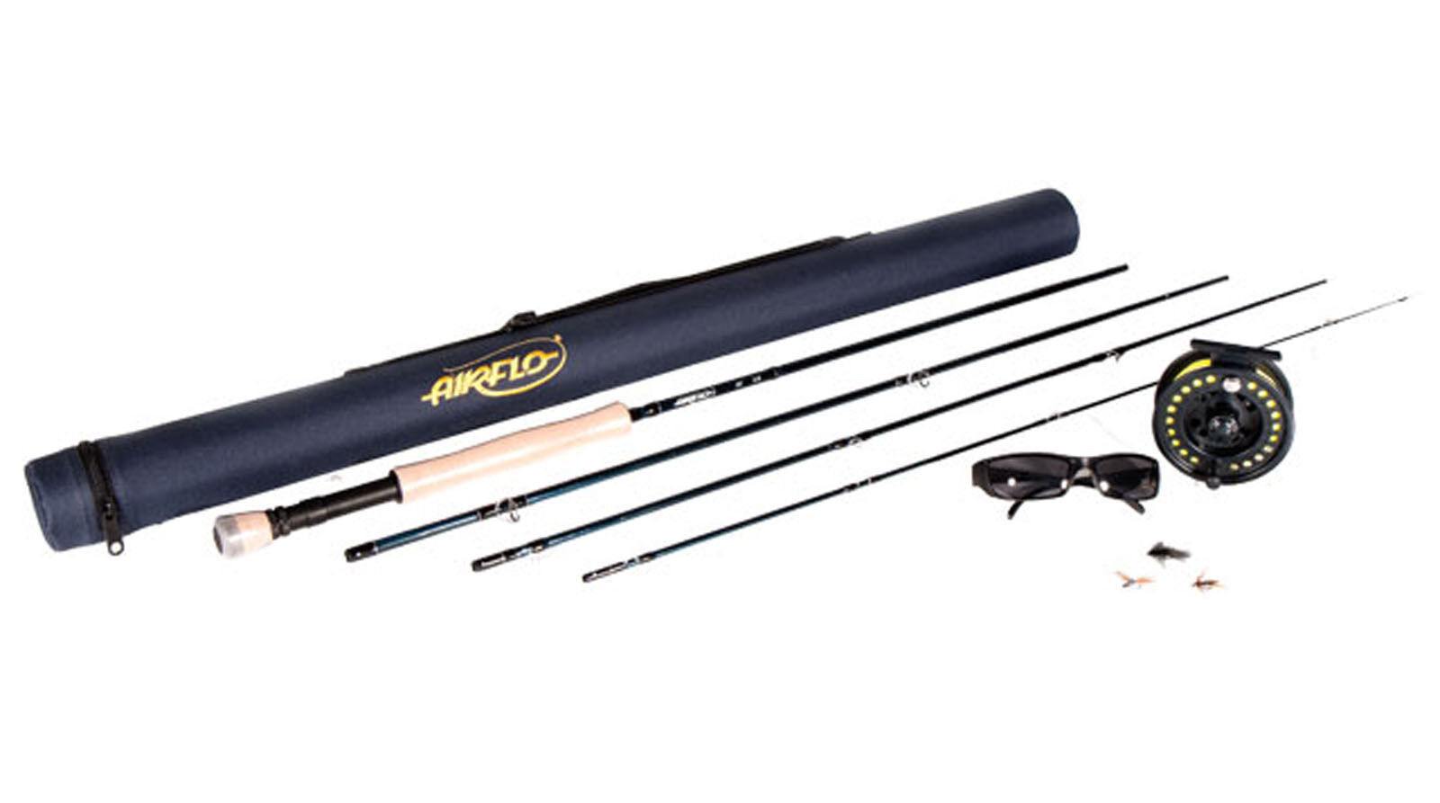 Airflo 8ft 6  4 5 Fly Fishing Kit Rod Reel Float Line Fly Box & Tube Sunglasses