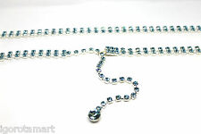 Blue Rhinestone Beads Gem Silver Alloy Chain Wide Waist Belt Fit Dress Pant