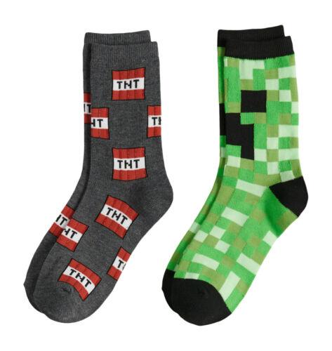 Minecraft Creeper Face TNT Boys Crew Length Socks 2 pr Small US shoe size 10-4