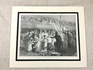 Antique-Print-Victorian-Workhouse-Feeding-the-Poor-London-19th-Century-Original