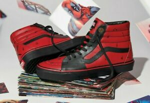 Vans x Marvel DEADPOOL Sk8 Hi Leather Hi Top Sneakers DAMAGED BOXES | eBay