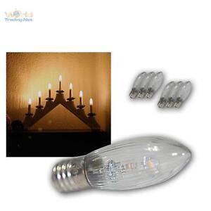 7x-LED-E10-Ersatz-Gluhbrine-klar-spitz-f-Lichterkette-Schwibbogen-Gluhlampe-warm