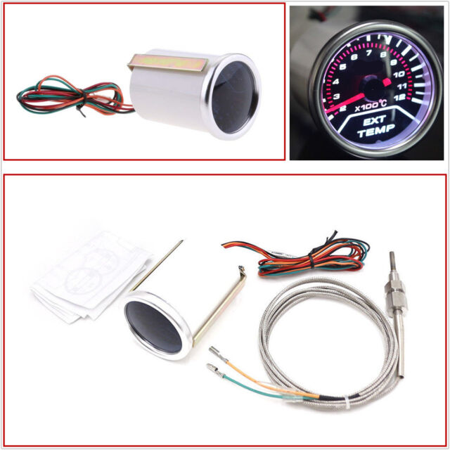 2inch Smoke Lens LED Display Car Exhaust Gas Temperature Gauge Meter with Sensor