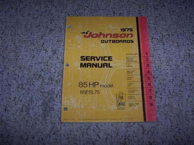 1975 Johnson 85 Hp Models Outboard Motor Shop Service