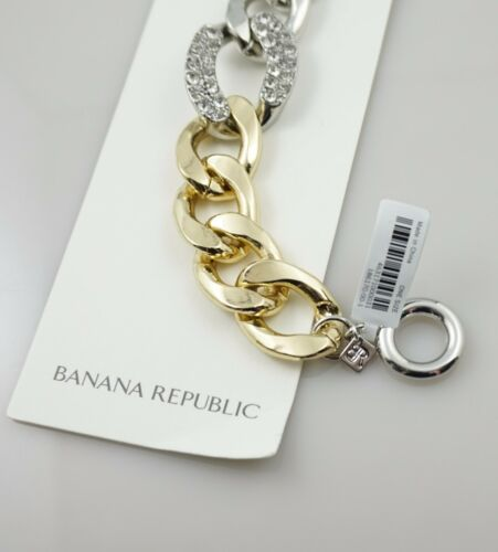 $45 Banana Republic Crystal Pave Link Gold Silver Tone Chain Toggle Bracelet NWT