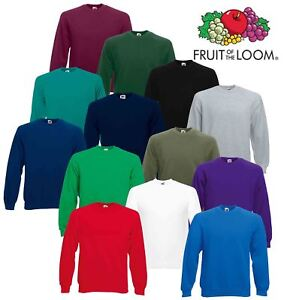 Mens-Sweatshirt-Fruit-Of-The-Loom-Raglan-Sweat-Pullover-Plain-Top-Jumper-Sweater