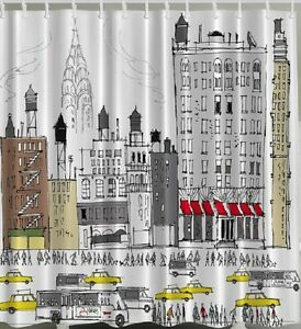 NYC Yellow Cab Fabric SHOWER CURTAIN Bus New York Drawing Skyline Bathroom De