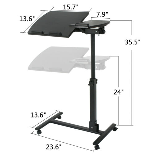 """Laptop Table Stand Sofa Bed Computer Notebook Desk Height Adjustable 24/""""--37.4/"""""""