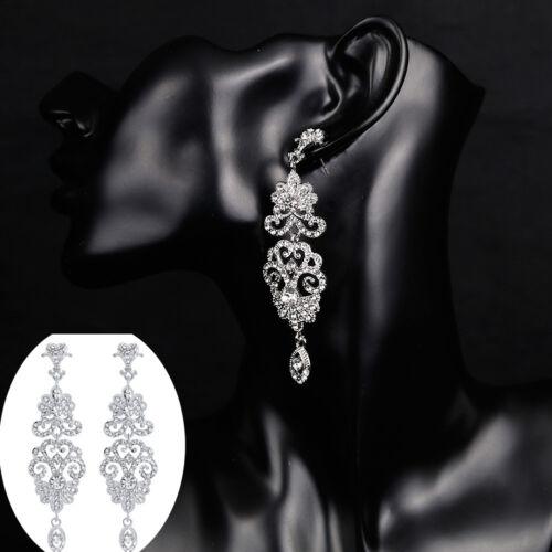 EG/_ LK/_ Hollow Rhinestone Pendant Earrings Bride Wedding Party Fashion Jewelry S