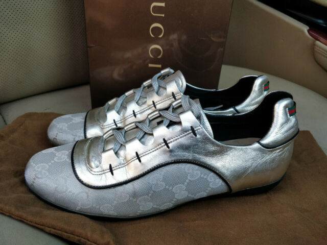 Gucci GG Canvas Leather Sneakers Shoes Trainers Web Stripe Silver Metallic Women