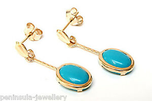 9ct-Gold-Turquoise-Drop-earrings-Made-in-UK-Gift-Boxed-Made-in-UK-Christmas-Xmas