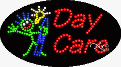 """NEW /""""DAY CARE/"""" 27x15 OVAL SOLID//ANIMATED LED SIGN W//CUSTOM OPTIONS 24510"""