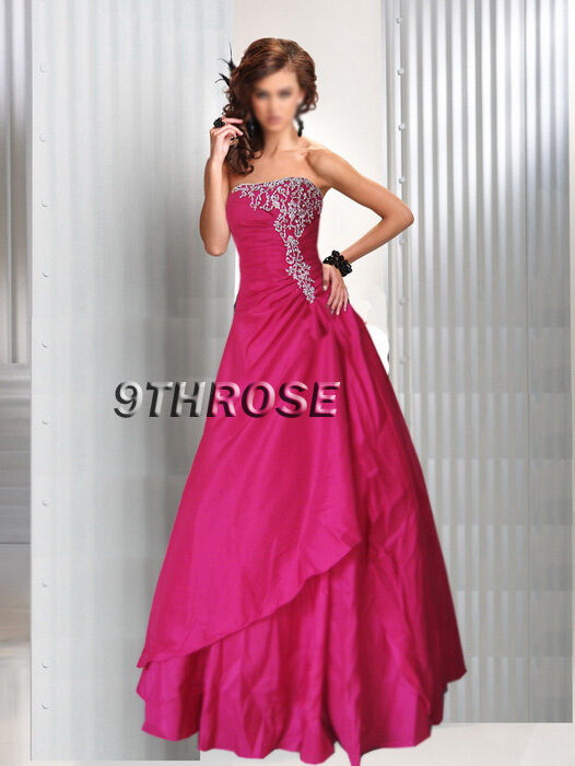 JUST DIVINE  STRAPLESS BEADED FORMAL EVENING PROM BALL GOWN; PINK AU 18 US 16
