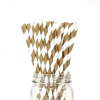 25 Vintage Party Paper Striped Straws Wedding Birthday Baby Shower Bridal DIY