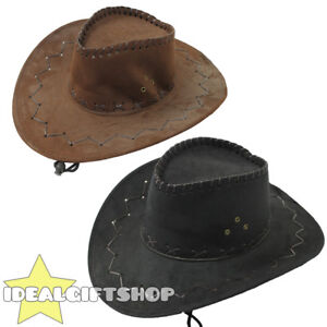 BLACK FAUX SUEDE COWBOY HATS AND BLACK PAISLEY BANDANA WESTERN COSTUME ACCESSORY
