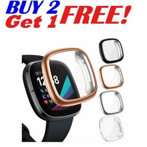 Full Screen Protector Case For Fitbit Versa 3/Sense TPU Watch Cover Bumper
