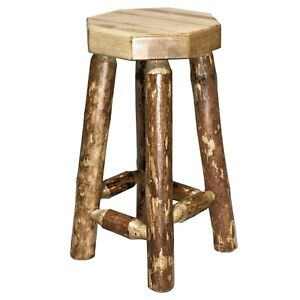 Miraculous Details About Rustic Log Bar Stools No Back 24 In Lodge Cabin Style Barstools Amish Made Uwap Interior Chair Design Uwaporg