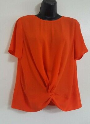 Brand New Ex Highstreet Asymmetric Twist Drape Satin Blouse Top Sleeveless Size