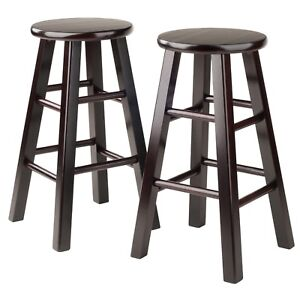 Admirable Details About Counter Bar Stool Wooden 24 Set 2 Espresso Solid Wood Accent Furniture Chair Caraccident5 Cool Chair Designs And Ideas Caraccident5Info