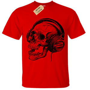 Skull-Headphones-SCREEN-PRINTED-Mens-T-Shirt-S-5XL-band-skeleton-music-retro