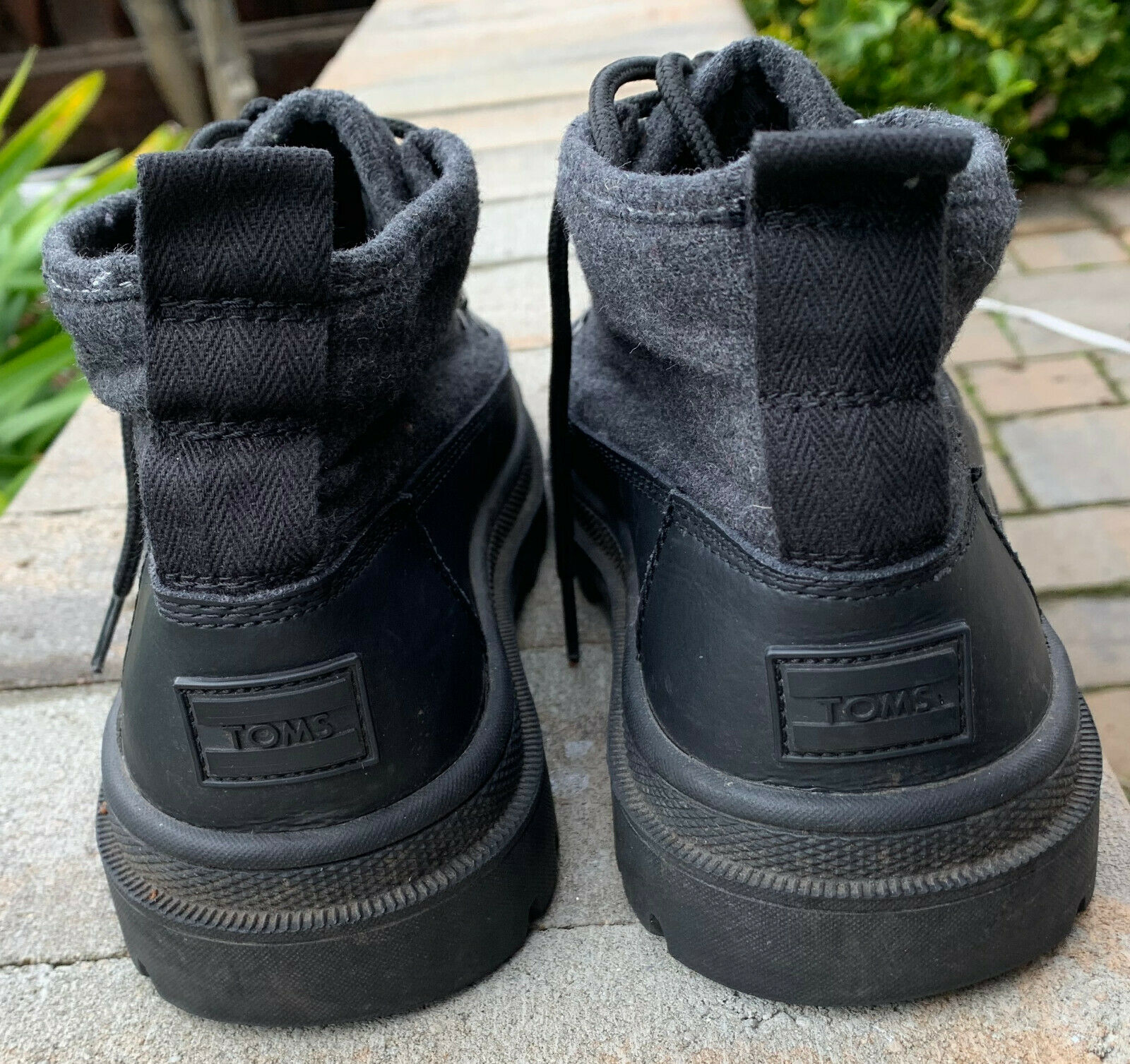 105d0020572 Toms Mens Cordova Hiking Boots Shoes Black Wool Leather US 9 | eBay