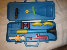 Vintage Little Fisher Price Musical Instrument case set toy 604 crazy horn combo