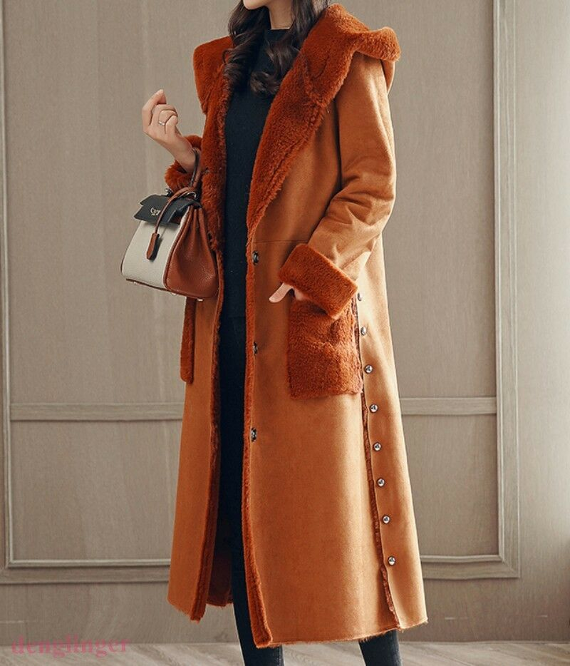 Womens Occident Long Lenght Retro Fashion Faux Fur Lining Warm Hooded Coat NEW