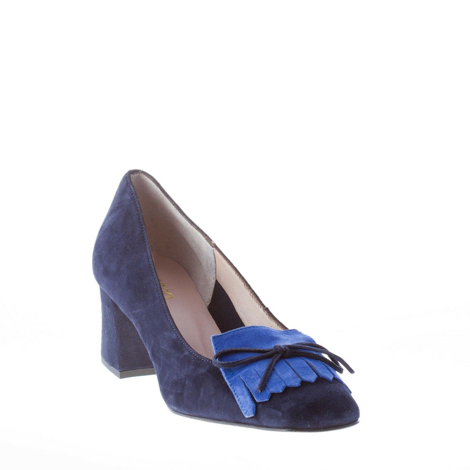 IL BORGO FIRENZE women shoes bluee suede pump bow tie and maxi fringe