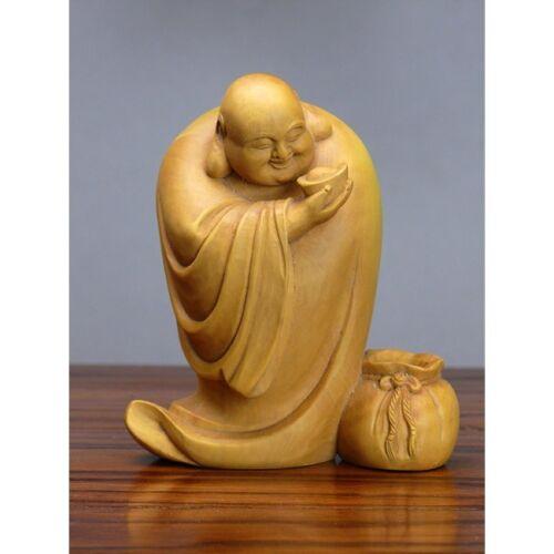 """Holz Buddha /""""Glücksbuddha im Gewand/"""" Holzfigur chinesische Holzschnitzerei Deko"""