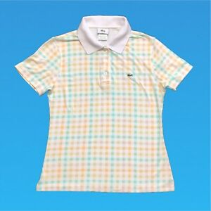 Womens-Vintage-Lacoste-Polo-Shirt-Medium-Check-Short-Sleeve