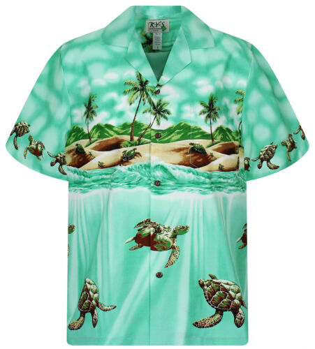 KY´s Original Chemise Hawaïenne Tortue Ancienne Turtle Old Vert