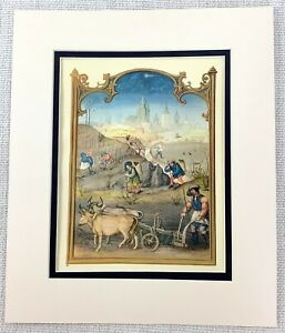 1937 Antique Print Medieval Painting Ploughing Oxen Farming The Middle Ages
