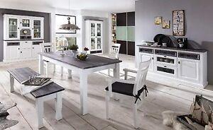Das Bild Wird Geladen Landhaus Esszimmer Wohnzimmer  Teilmassiv Weiss Anthrazit Sideboard Tisch
