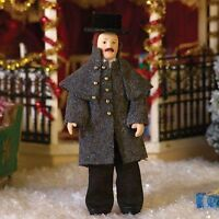"""1/12TH  DOLLS HOUSE  """" VICTORIAN""""  MAN  IN  GREY COAT AND TOP HAT"""