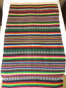Details About Vtg Mexican Bright Colorful Striped Woven Wool Sa Throw Rug Blanket 82x48
