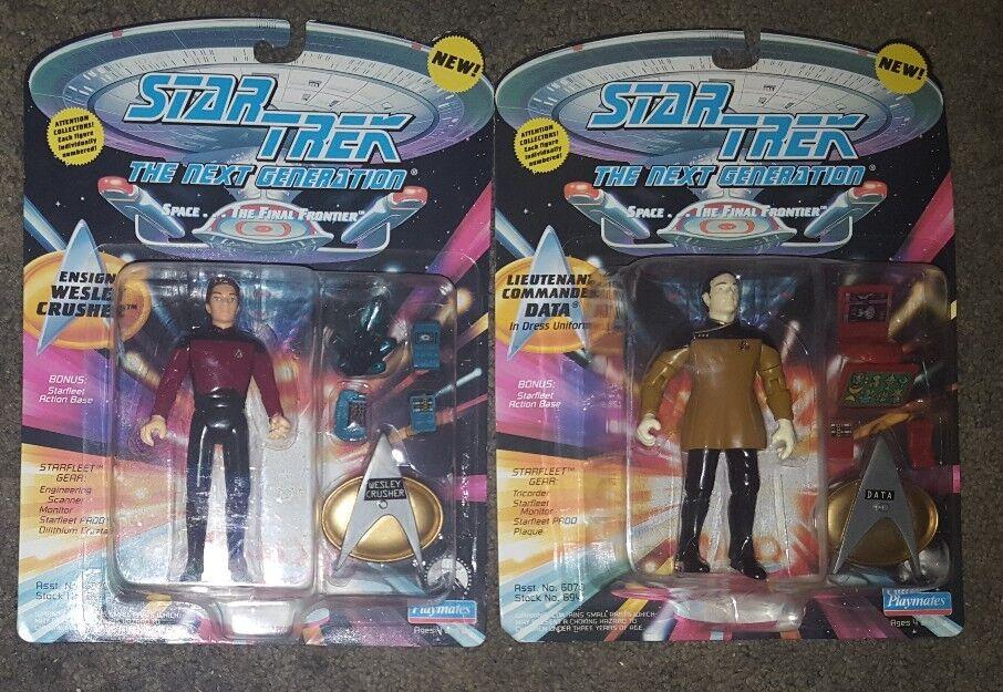 Star Trek Playmates conjunto de 2 emparejar los números datos vestido de uniforme Wesley