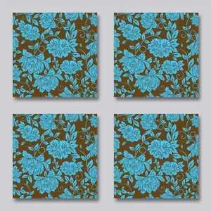 Fliesenaufkleber florale blumen braun hellblau retro 15x15 cm ebay - Fliesenaufkleber retro ...