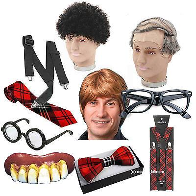 Nerd Geek Fancy Dress Baldy Wig Afro Tartan Tie Bowtie Bad Teeth Braces Glasses