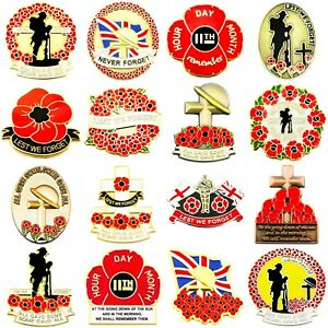 RED-POPPY-LAPEL-PIN-ENAMEL-BADGE-BRITISH-UK-US-MILITARY-ARMY-DAY-2019-COLLECTION