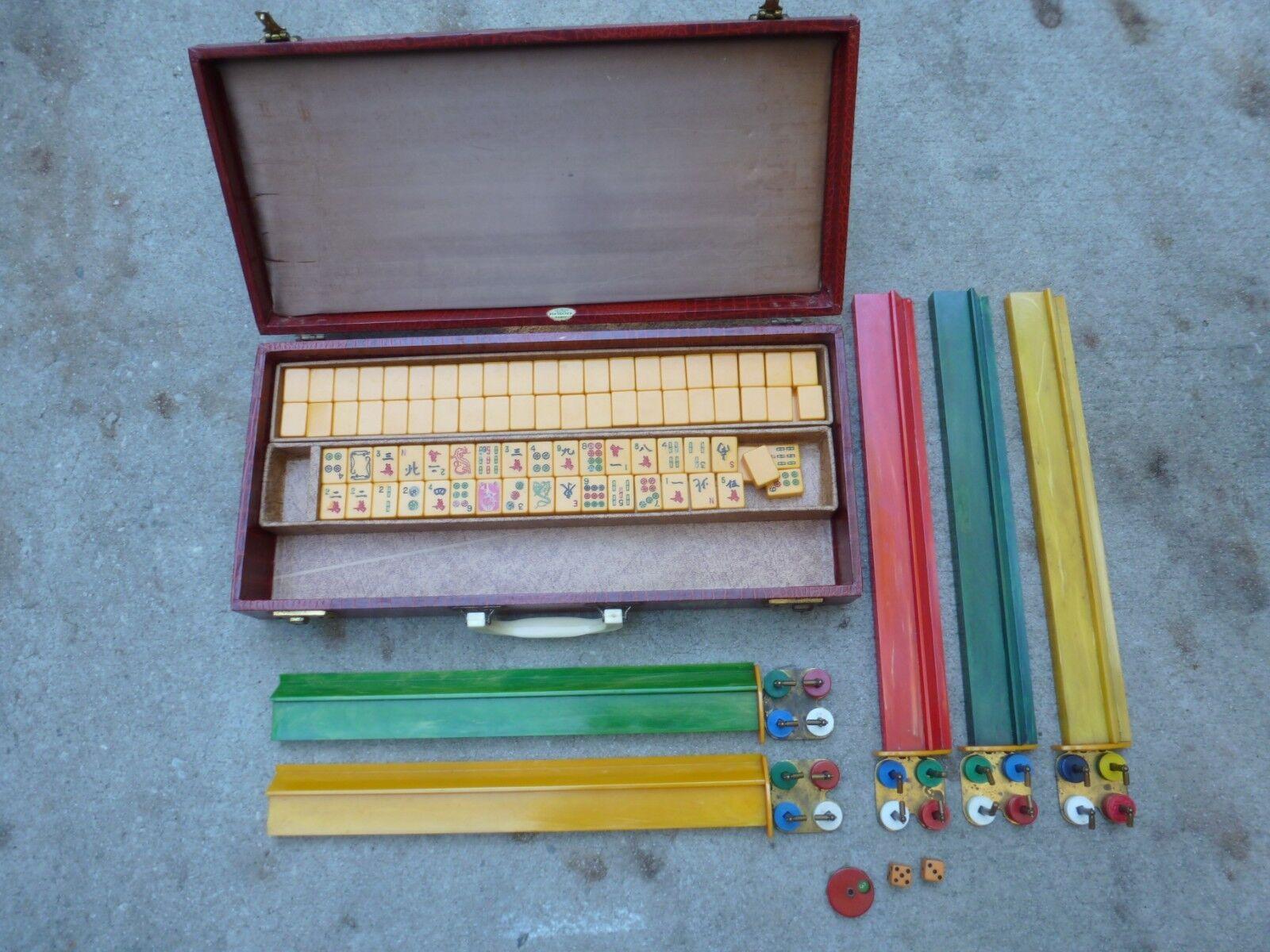 Vintage Royal Set Mah Jong Mahjong Set Royal Butterscotch 152 Tiles 074987
