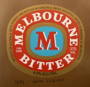 OLD-AUSTRALIAN-BEER-LABEL-1980s-MELBOURNE-BITTER-CUB-375-ML-TYPE-11