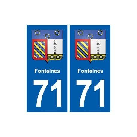 71 Fontaines blason autocollant plaque stickers ville droits
