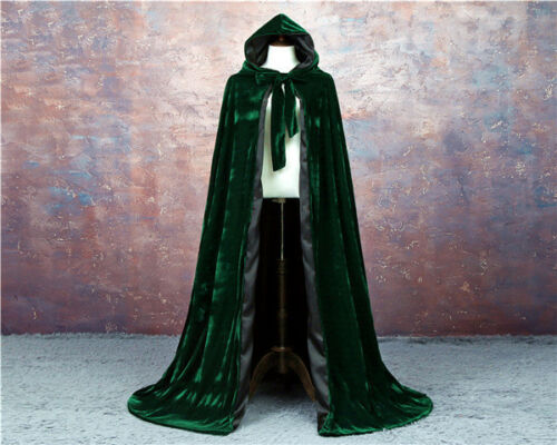 VELVET LINED GOTHIC CLOAK HALLOWEEN BLACK CAPE HOODED WICCA MEDIEVAL LARP SCA