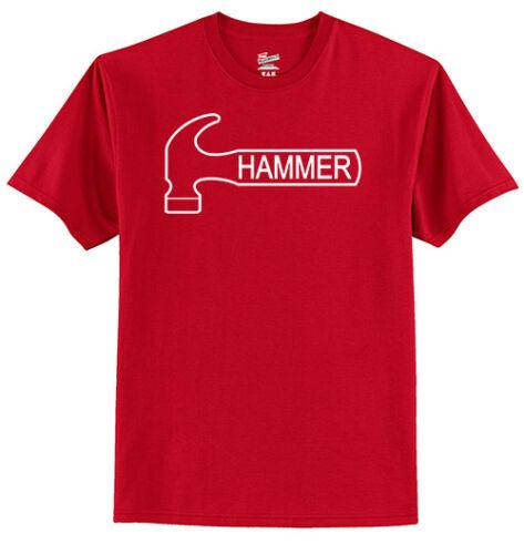 Hammer Men's T-Shirt Bowling Shirt Tagless 100% Red White