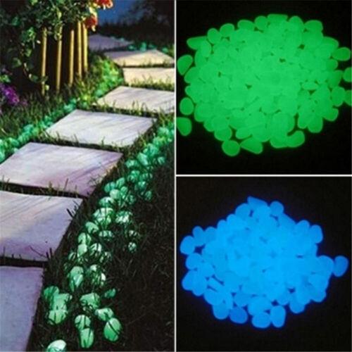 100X Glow In The Dark Stones Pebbles Rock Fish Tank Aquarium Garden Walkway