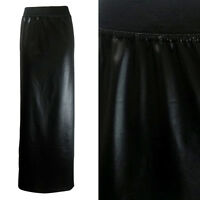 NEW LADIES BLACK PVC WET LEATHER LOOK LONG MAXI SKIRT  SIZE 8-14