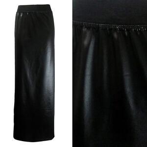 new black pvc leather look maxi skirt plus
