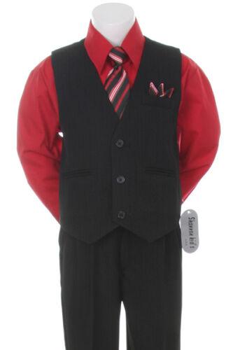 Red Formal Boys Pinstripe Vest Suit Set Holiday Infant Toddler Big Boy Sizes