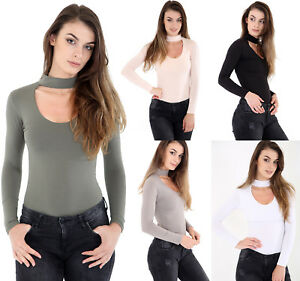 Womens-Long-Sleeve-Basic-Ladies-Stretch-Leotard-Choker-Bodysuit-High-Neck-Top